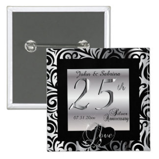 25th Silver Wedding Anniversary 2 Inch Square Button