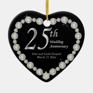 25th Silver Wedding Anniversary Ceramic Heart Decoration