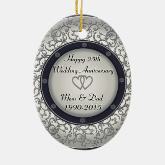 25th Silver Wedding Anniversary Ceramic Oval Decoration