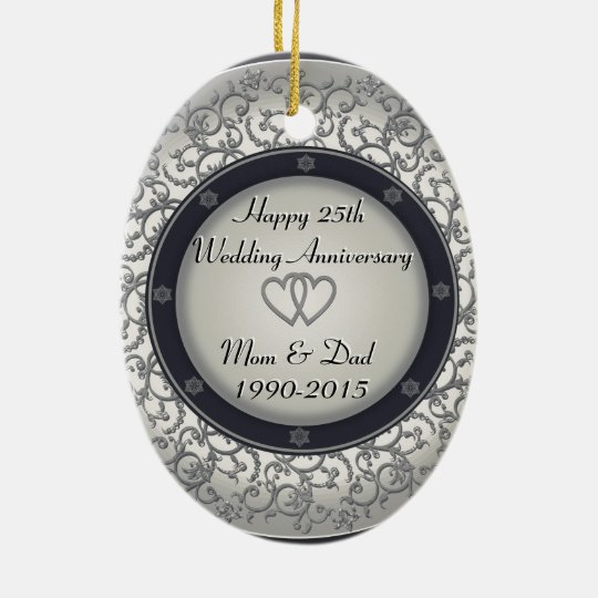 25th Silver Wedding Anniversary Christmas Ornament