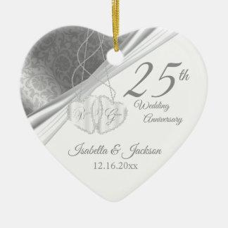 25th Silver Wedding Anniversary Christmas Ornament
