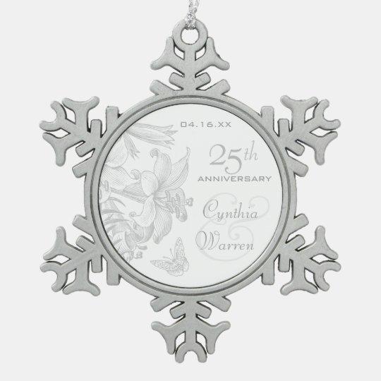 25th Silver Wedding Anniversary Custom Keepsake Snowflake Pewter
