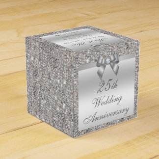 25th Silver Wedding Anniversary Custom Thank You Wedding Favor Boxes