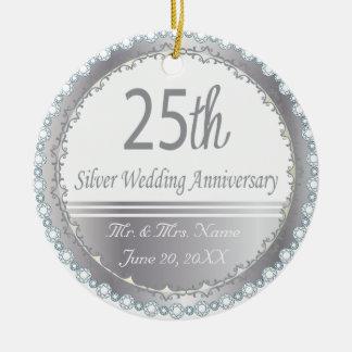 25th Silver Wedding Anniversary Christmas Tree Ornaments