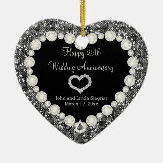 25th Silver Wedding Anniversary Ceramic Heart Decoration
