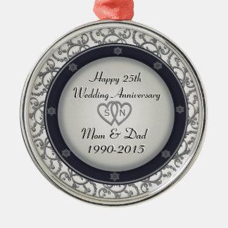 25th Silver Wedding Anniversary Round Metal Christmas Ornament