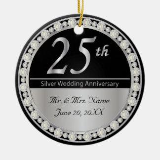 25th Silver Wedding Anniversary Christmas Ornaments