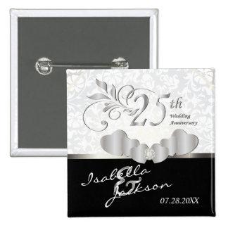 25th Silver Wedding Anniversary Design 15 Cm Square Badge