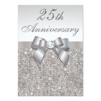 25th Silver Wedding Anniversary Faux Sequins & Bow 13 Cm X 18 Cm Invitation Card