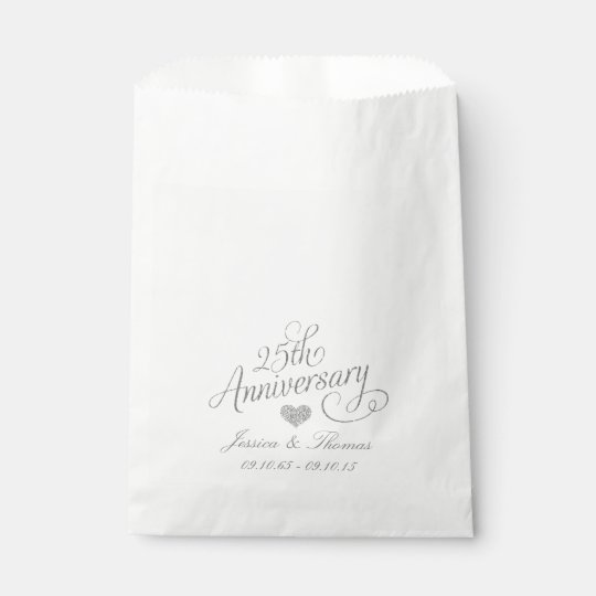 25th Silver Wedding Anniversary Favour Bag Favour Bags