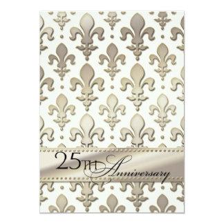 "25th, Silver Wedding Anniversary, Fleur de Lis 5"" X 7"" Invitation Card"