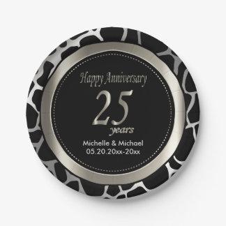 25th Silver Wedding Anniversary | Giraffe Pattern Paper Plate