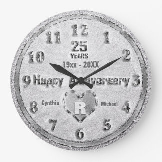25th Silver Wedding Anniversary Glitter Party Clock