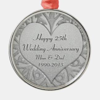 25th Silver Wedding Anniversary Heart Silver-Colored Round Decoration