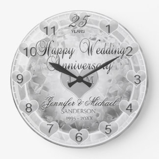 25th Silver Wedding Anniversary Hearts Clocks