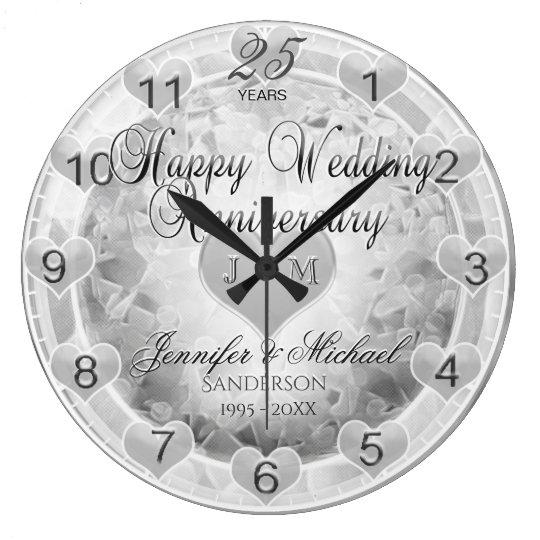 25th Silver Wedding Anniversary Hearts Large Clock