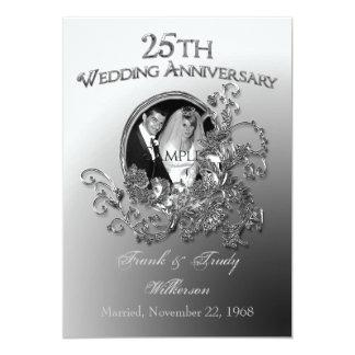 """25th Silver Wedding Anniversary Invitations 5"""" X 7"""" Invitation Card"""