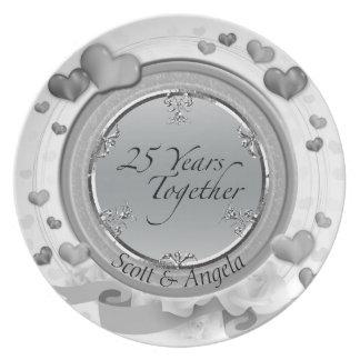 25th Silver Wedding Anniversary Keepsake 25 Years Plate