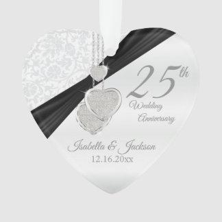 25th Silver Wedding Anniversary Keepsake Design Ornament