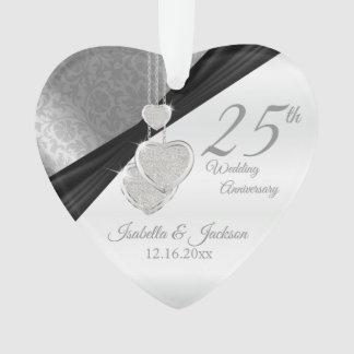 25th Silver Wedding Anniversary Keepsake Ornament
