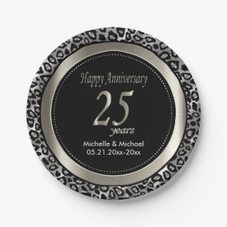 25th Silver Wedding Anniversary | Leopard Pattern Paper Plate