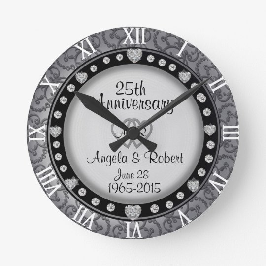 25th Silver Wedding Anniversary Monogram Wall Clocks