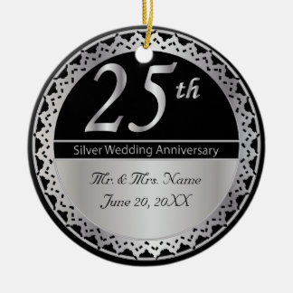 25th Silver Wedding Anniversary Ornament