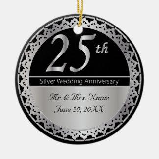 25th Silver Wedding Anniversary Ornament