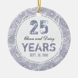 25th Silver Wedding Anniversary Paisley Monogram Round Ceramic Decoration