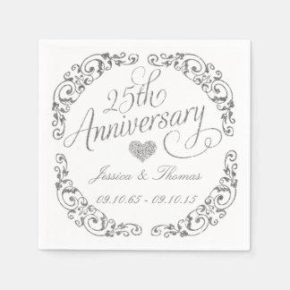 25th Silver Wedding Anniversary Paper Napkins