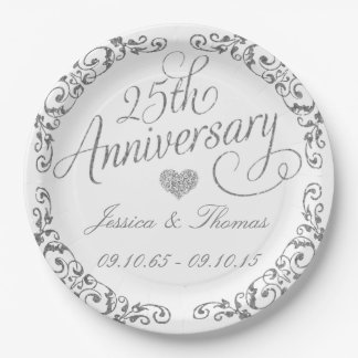 25th Silver Wedding Anniversary Paper Plate 9 Inch Paper Plate
