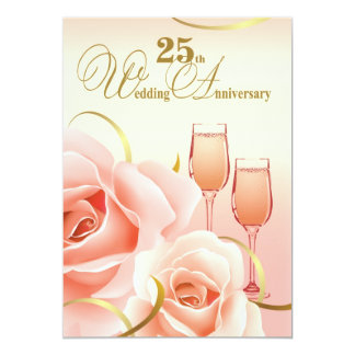 "25th  Silver Wedding Anniversary Party Invitations 5"" X 7"" Invitation Card"