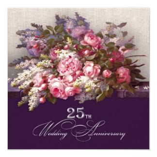 """25th Silver Wedding Anniversary Party Invitations 5.25"""" Square Invitation Card"""