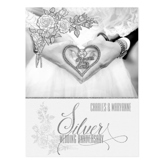 25th Silver Wedding Anniversary Personalised Postcard