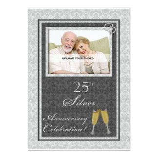 25th Silver Wedding Anniversary Photo Invitations