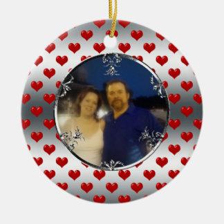 25th Silver Wedding Anniversary Photo Keepsake Double-Sided Ceramic Round Christmas Ornament