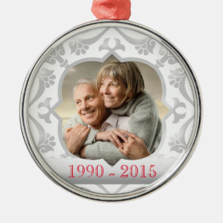 25th silver wedding anniversary photo ornament