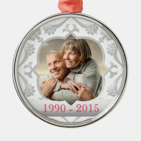 25th silver wedding anniversary photo ornament