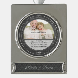 25th Silver Wedding Anniversary | Photo Ornament Silver Plated Banner Ornament