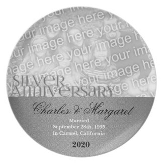 25th Silver Wedding Anniversary Photo Plate