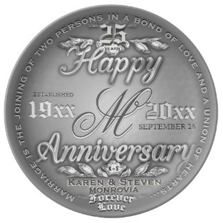 25th Silver Wedding Anniversary Porcelain Plate