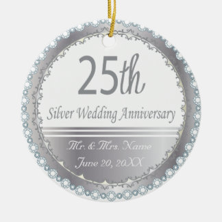 25th Silver Wedding Anniversary Round Ceramic Decoration