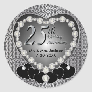 25th Silver Wedding Anniversary Round Sticker