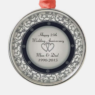 25th Silver Wedding Anniversary Silver-Colored Round Decoration