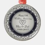 25th Silver Wedding Anniversary Silver-Colored Round Decoration