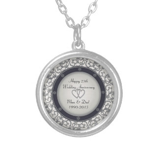 25th Silver Wedding Anniversary Silver Plated Necklace