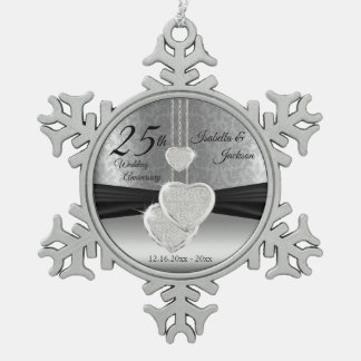 25th Silver Wedding Anniversary Snowflake Pewter Christmas Ornament