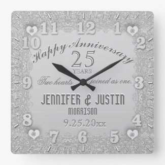 25th Silver Wedding Anniversary Square Wall Clock
