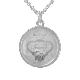 25th Silver Wedding Anniversary Sterling Silver Necklace
