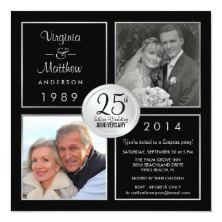 25th Silver Wedding Anniversary Surprise Party Card